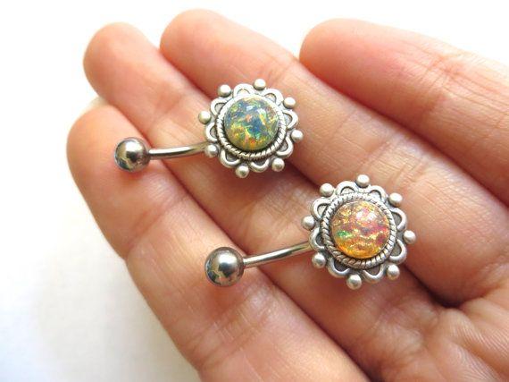 Fire Opal Atom Ornate Flower Belly Button Ring by Azeetadesigns