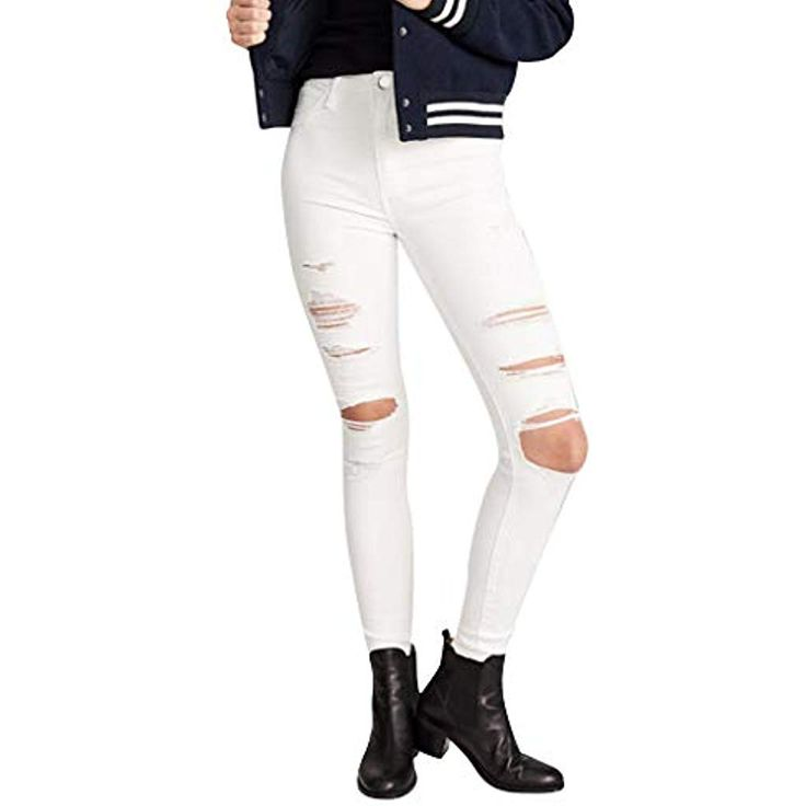 FaTsot Jeans Damen Taschen Reißverschluss Loch Skinny Mittlere Taillen Jeans De…