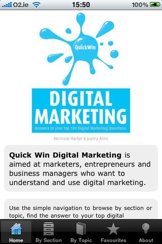 Quick Win Digital Marketing iPhone and iPad app by Oak Tree Press. Genre: Business application. Price: $5.99. http://click.linksynergy.com/fs-bin/stat?id=gtf1QuAg8bk=146261=3=0=1826_PARM1=http%3A%2F%2Fitunes.apple.com%2Fapp%2Fquick-win-digital-marketing%2Fid355870514%3Fuo%3D5%26partnerId%3D30