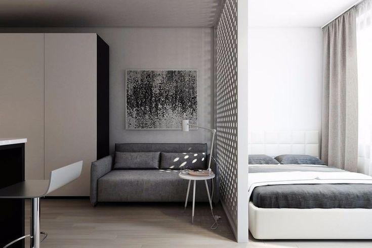 Дизайн прямоугольной студии с одним окном в стиле минимализм - Дизайн интерьеров | Идеи вашего дома | Lodgers