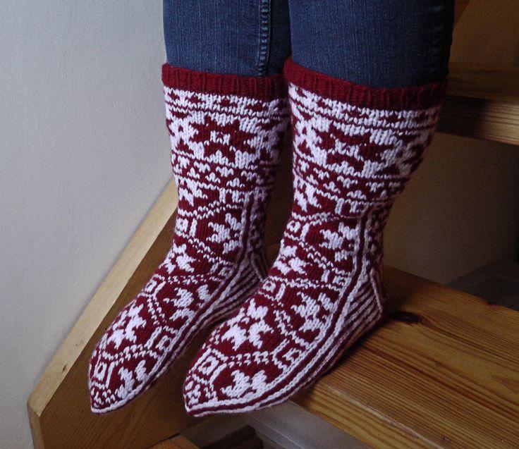 Wool socks, Scandinavian wool socks, Red and white patterned socks,Women's wool socks, Christmas gift, Red and white socks by GrandmasOldBox on Etsy