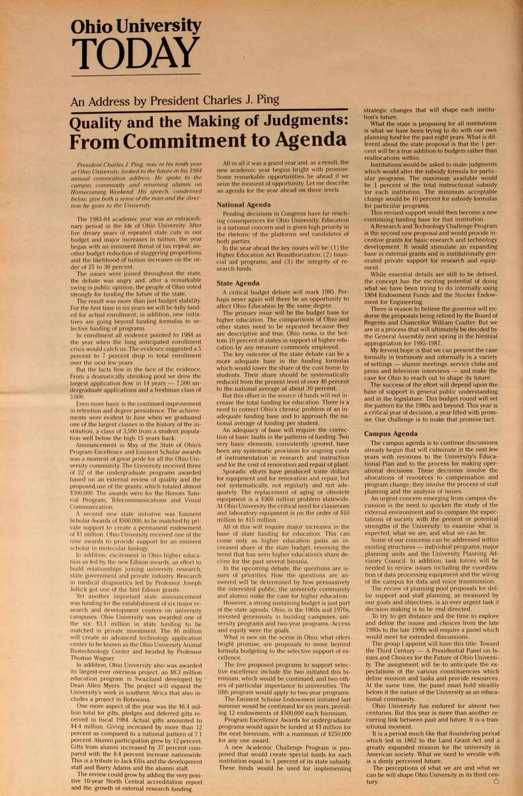 "Ohio University Today, Fall 1984. Address by President Charles J. Ping ""Quality and the Making of Judgments: From Commitment to Agenda"""