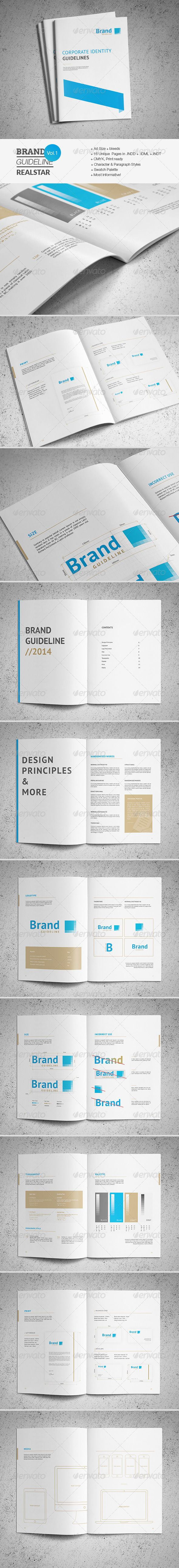 Brand Guideline Template — InDesign INDD #clean #minimal • Available here → https://graphicriver.net/item/brand-guideline-template/7480156?ref=pxcr