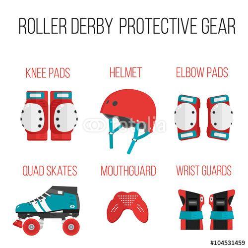 """Laden Sie den lizenzfreien Vektor """"Vector set of flat roller derby protective gear"""" von Brynza zum günstigen Preis auf Fotolia.com herunter. Stöbern Sie in unserer Bilddatenbank und finden Sie schnell das perfekte Stockbild für Ihr Marketing-Projekt!"""
