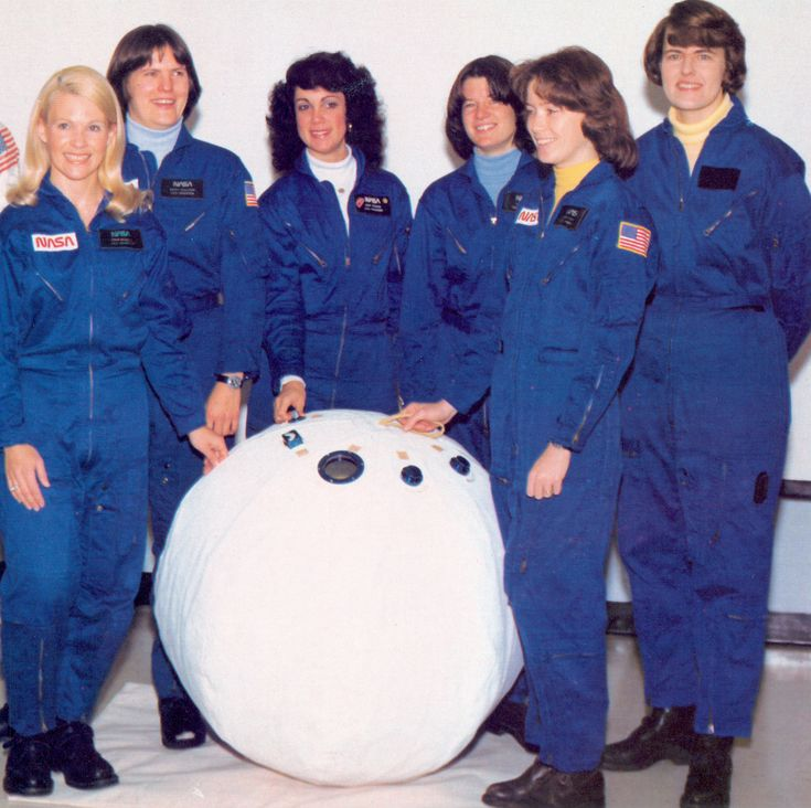 From left to right, Margaret R. (Rhea) Seddon, Kathryn D. Sullivan, Judith A. Resnik, Sally K. Ride, Anna L. Fisher, and Shannon W. Lucid—the first six female astronauts of the United States.
