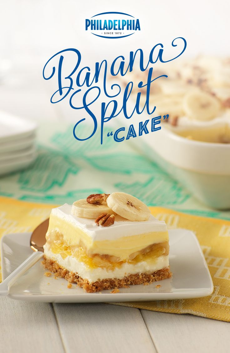 For your next summer potluck, bring something with a little something of everything. Made with Philadelphia Cream Cheese, graham crackers, sugar, butter, crushed pineapple, bananas, Jell-O Vanilla Pudding, milk, Cool Whip and Planters pecans. You'll be split between sharing and eating it all yourself.