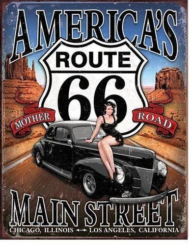 Blechschild Route 66 - America`s Mainstreet-DE1957