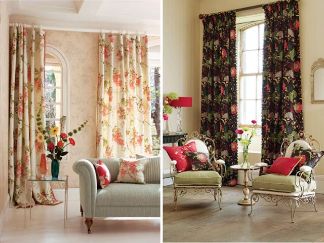 decorar interiores con cortinas floreadas coloridas por
