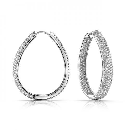 Oval Inside Out Pave CZ Diamond Hoop Earrings