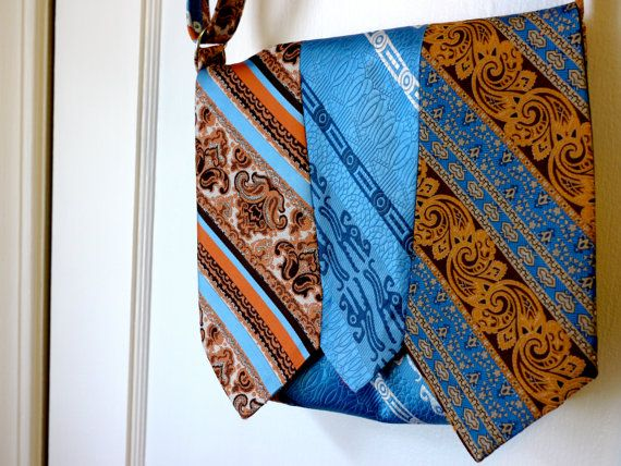 Recycled Necktie Purse Bag Blue Brown Orange Stripes by vintage180, $48.00