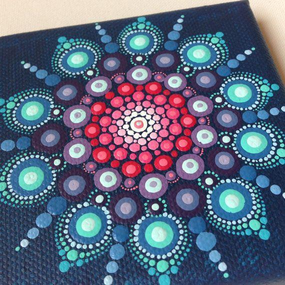 Original Dot Art Mandala on Canvas Board by CreateAndCherish