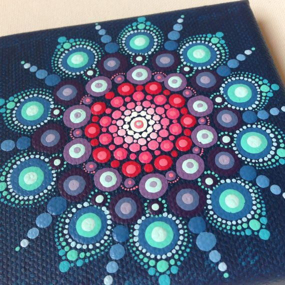 Original Dot Art Mandala on Canvas Board by CreateAndCherish