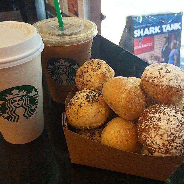 Mini Stuffed Bagels & Starbucks = a Perfect Pair . Launching next week in select NYC Starbucks locations!!! #nyc #starbucks #bagelstuffins #bantambagels #nybagel