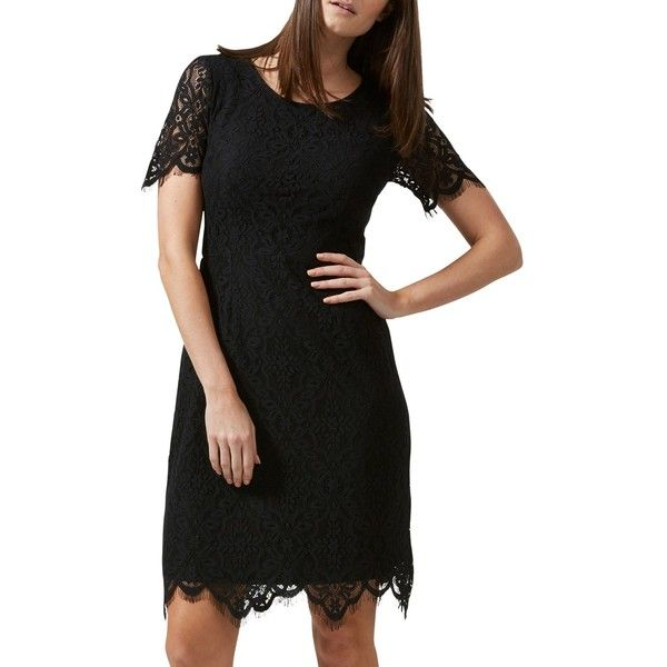 Sugarhill Boutique Dawn A-Line Lace Dress, Black ($76) ❤ liked on Polyvore featuring dresses, maxi dresses, short maxi dress, lace dress, long-sleeve floral dresses and long-sleeve midi dresses