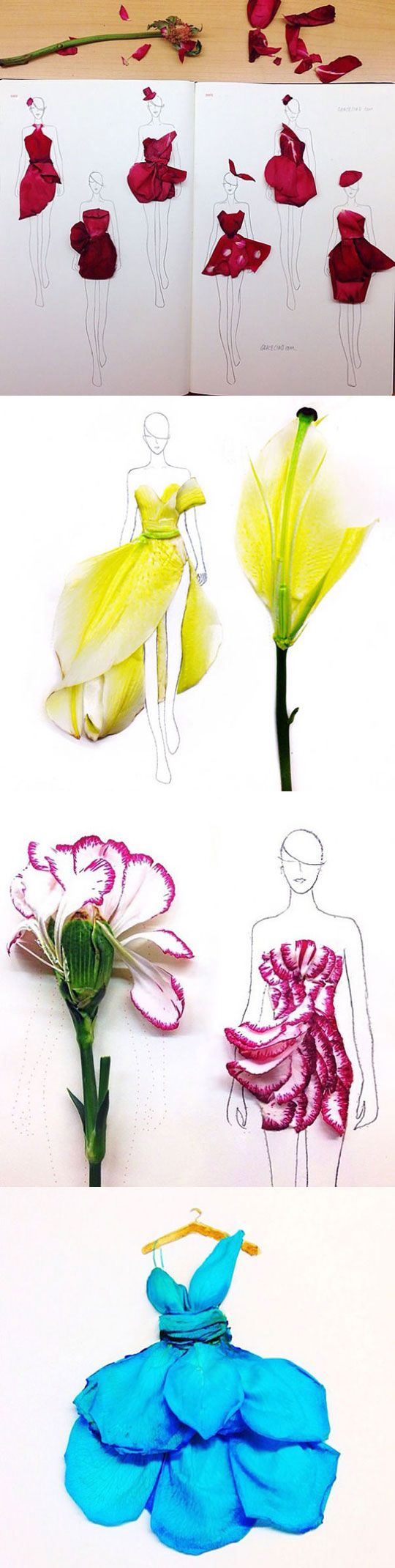 Fashion Illustrations With Real Flower Petals As Clothing - This is actually quite brilliant. Each idea spawns about ten more as you go along....
