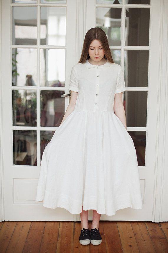 White Dress Linen Dress Women Clothing Hand Made By SondeflorShop