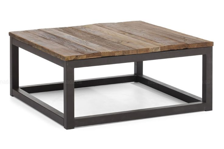The Civic Centre Square Coffee Table is made from long and thick elm wood planks are fused together on top an antiqued metal base. Add an industrial touch to your living space. Some assembly is required.