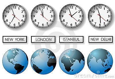 World city time zone clocks and globes