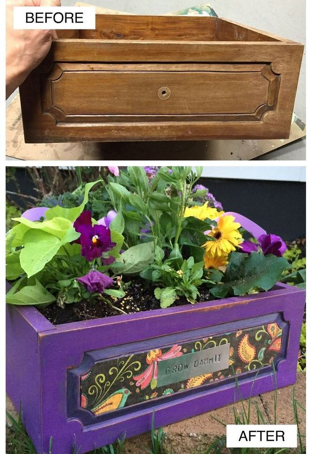 old drawer becomes a planter in 1 hour, gardening, painted furniture, repurposing upcycling, Before and After