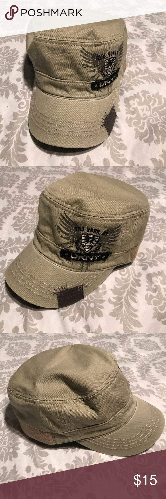 DKNY Unisex Military Hat Army Cap. EUC. OS DKNY Unisex Military Hat Army Cap. EUC. OS. 100% Cotton. Elastic backing for extra fitting DKNYC Accessories Hats