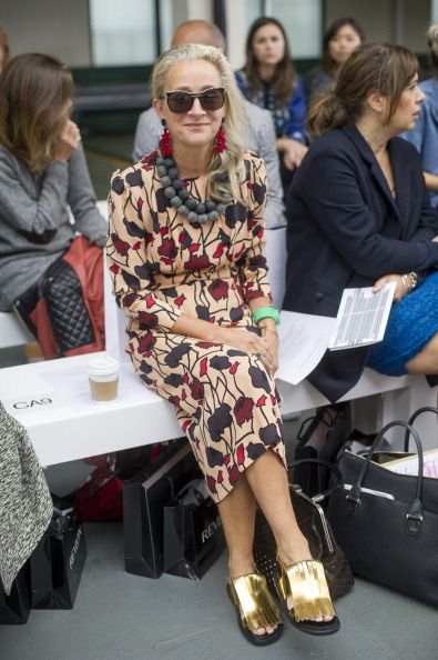 Lucinda Chambers attends the front row for the Antonio Berardi show on day 4 of London Fashion Week Spring/Summer 2013 at Brewer Street Car Park on...