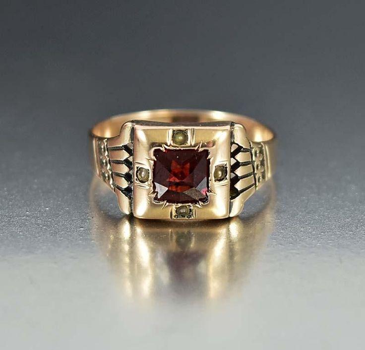 Antique 10K Rose Gold Garnet Engagement Ring