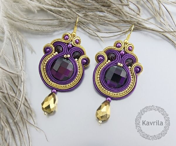 K.Avril - soutache oriental purple earrings