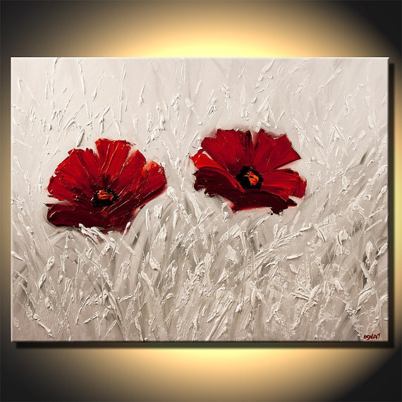 "Landscape Painting Heavy Texture ORIGINAL Palette Knife Red Poppies Floral Art On Canvas by Osnat 40""x30"". $560.00, via Etsy."