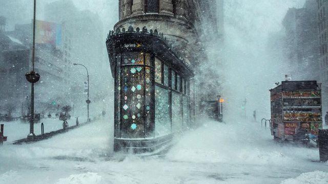 Peinture impressionniste? Non, New York sous la tempête de neige ! Le petit kiosque de l'opérateur téléphonique américain Sprint est presque la seule chose qui trahit le côté suranné de la photo.