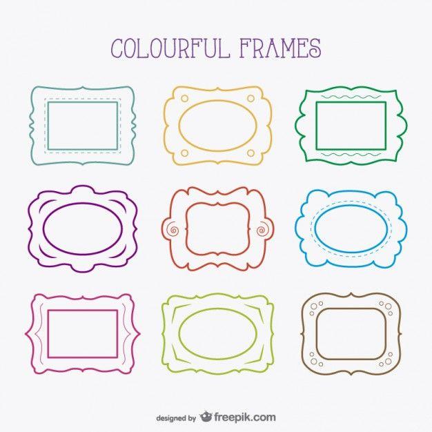Free line art frames Free Vector