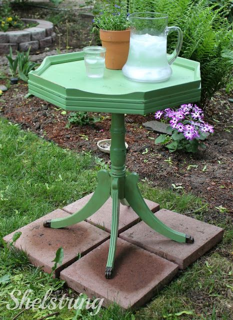 Love my new pie crust table!! Love this spring green color. A total thrifty steal!! www.shelstring.com