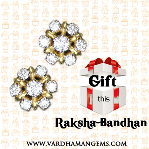 DIAMOND STUDDED TOPS A perfect gift for a Sister from a Brother on Raksha Bandhan (Rakhi) --- www.vardhamangems.com