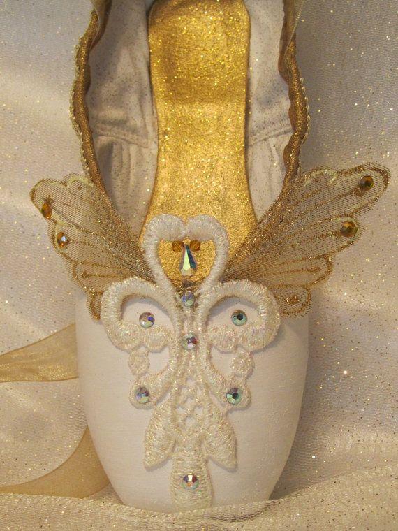 Nutcracker Angel decorated pointe shoe. Guardian angel or little angel. Nutcracker DewDrop. Sleeping Beauty Act III Gold Fairy.