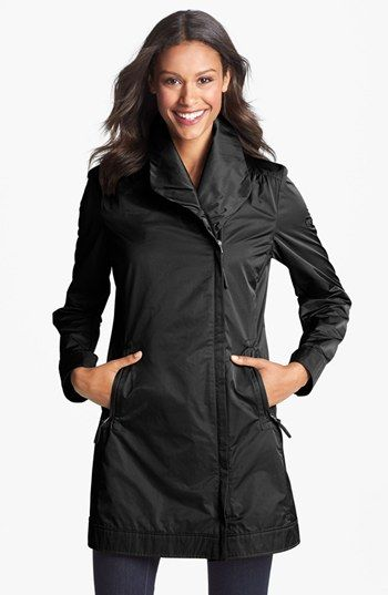 uh hi. get in my closest please. RAINFOREST Asymmetrical Zip Packable Raincoat available at #Nordstrom