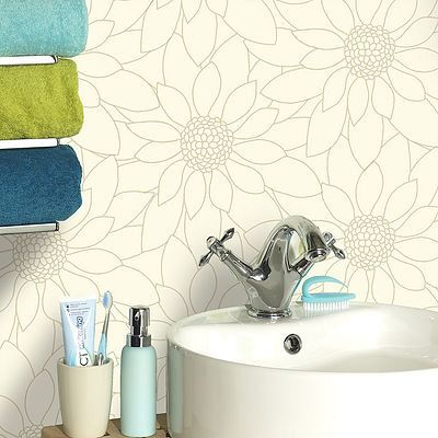 W2WUK / Wallpaper / Wallcoverings / Tiles / Tile Effects / Kitchen / Bathroom / Decorating / Tiling on a Roll / Holden Decor / British design / Louisa / Matrix / White / Grey / Neutral / Blown Vinyl / Textured Vinyl / Floral / Flowers / Daisy