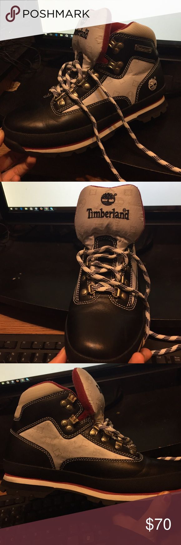 White and blue timberland boots Old style, used, really good condition. Timberland Shoes Winter & Rain Boots