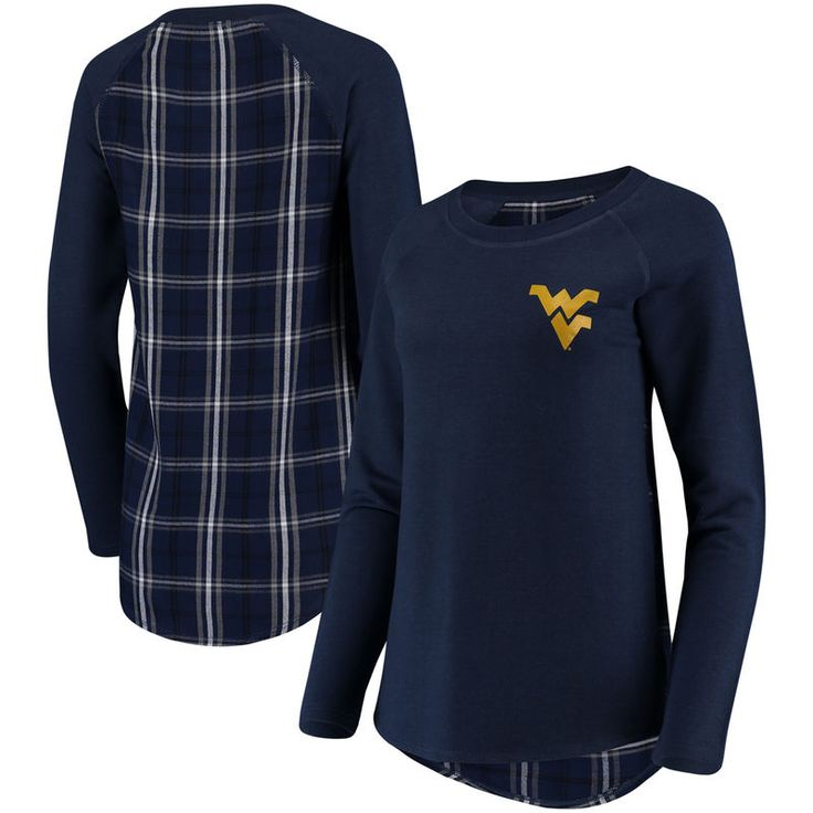 West Virginia Mountaineers Women's Team Player Plaid Back Long Sleeve T-Shirt - Navy