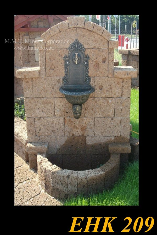 Monumental fountain, carved volcanic ash, cast iron spout. We manufacture a well with a tray built from articles. We are a very popular product. Manufacture of hand-carved, unique volcanic ash products. Hungary Halásztelek.