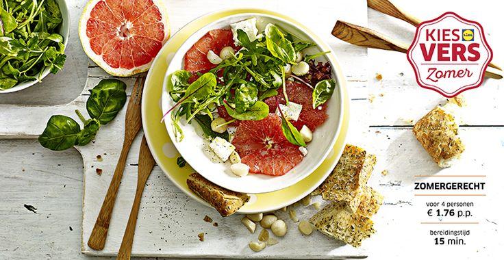Recept voor Grapefruitsalade met macadamianoten, feta en focaccia #Lidl #Zomer