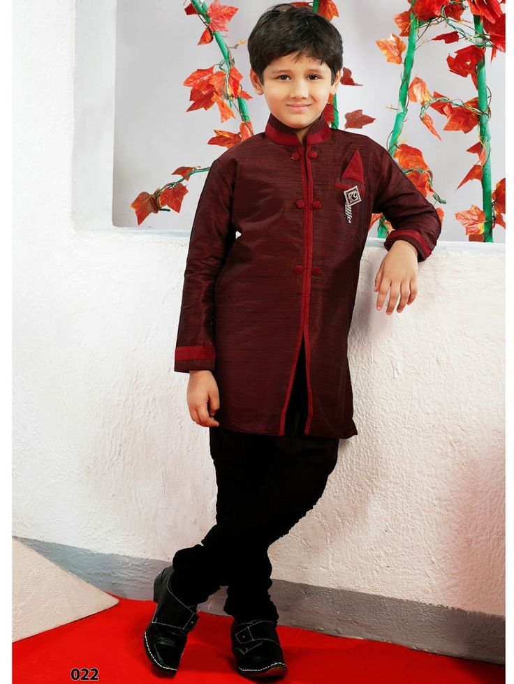 Maroon with Black Kurta Churidar bottom for Kids 022SIKD