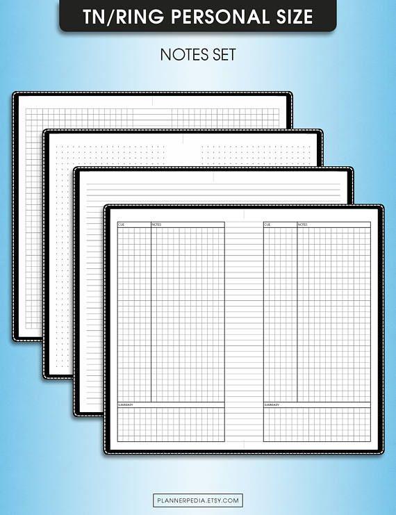 Notas de punto/red/líneas/cornell, #E-N (filofax imprimible tamaño personal insertos, cuaderno de viajeros, personal inserciones tn)