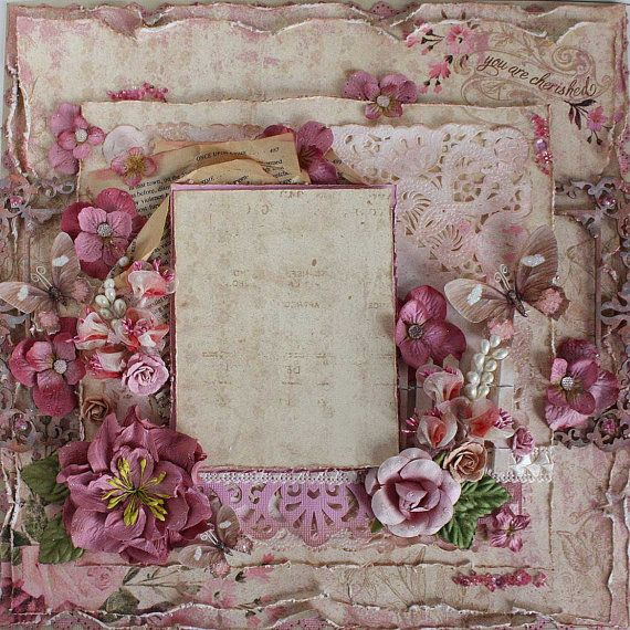Premade 12x12 Shabby Chic Scrapbook Layout by LittleScrapShop