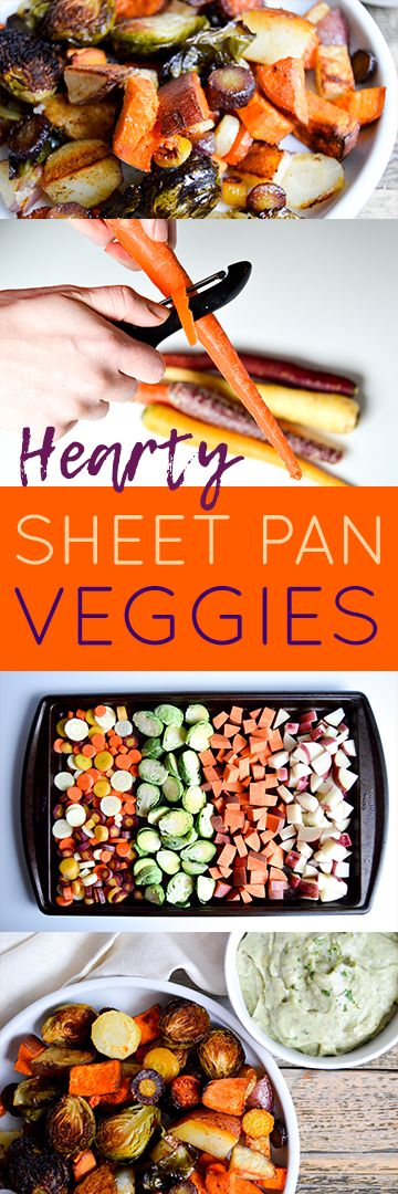 Recipe for baking hearty sheet pan veggies and avocado ranch dip recipe. Vegetable filled dinner idea for a healthy meal, corn oil and avocado substitutions. Rainbow carrots, brussels sprouts, sweet potato, and red potato veggies baked with corn oil and seasonings. Delicious, easy, healthy dinner dish.