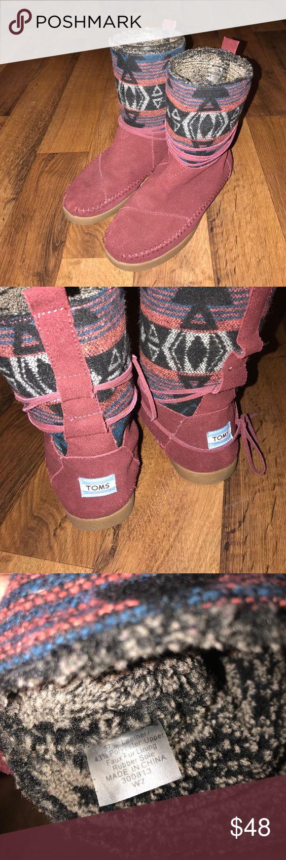 Women's Size 7 Toms Nepal Fur Lined Aztec Boots Excellent condition TOMS Shoes Lace Up Boots