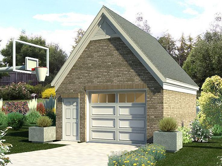 A steep roofline and front facing gable combine with a brick façade giving this 1 ½-car garage plan plenty of street appeal and a look that is sure to blend ...