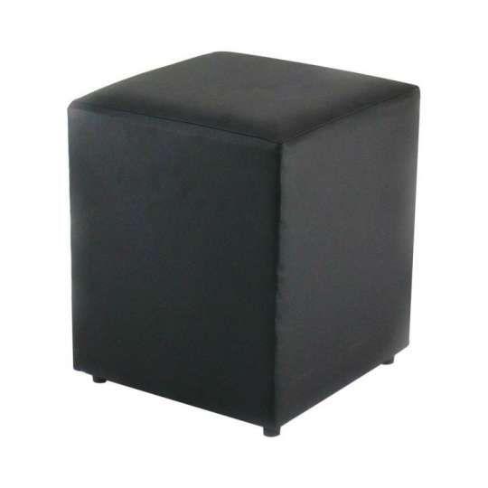 Puff Quadrado Box Couro Sintético Preto