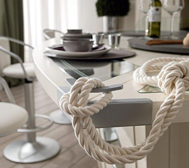 Cool Kochinsel mit Seil dekoriert mediterrane M bel