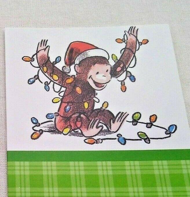 Curious George Christmas.Curious George Christmas Card Monkey Greeting Card Unused