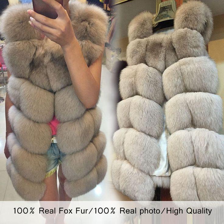 Horkou novinkou 2.015 přírodní liščí kožešina dlouhá vesta s všech reálných fotografiích 19 barevných skladem