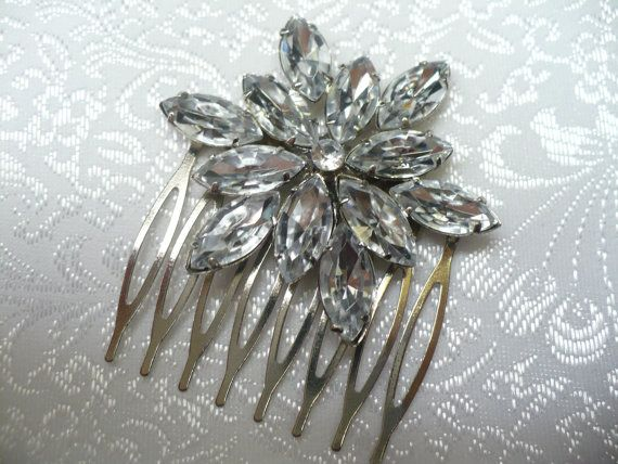 Vintage Bridal Hair comb  Rhinestone  WEDDING by ElegantiTesori, $49.99